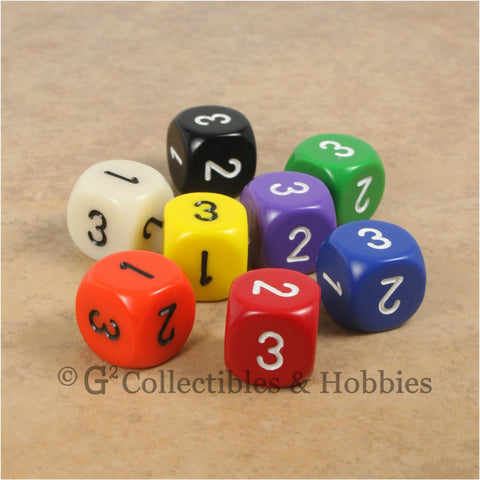 D3 (6 Sided) RPG Dice Set 8pc - 8 Colors