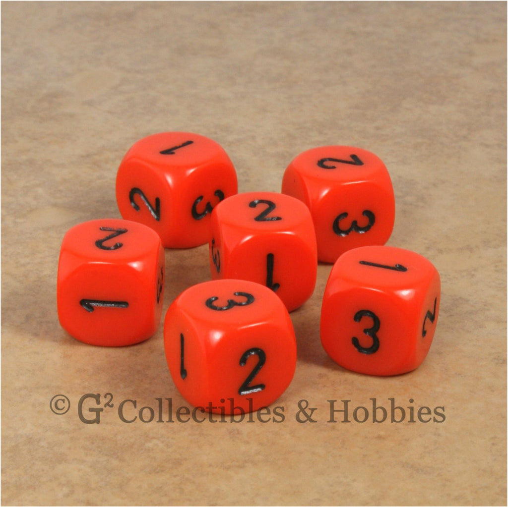D3 (6 Sided) RPG Dice Set 6pc - Orange