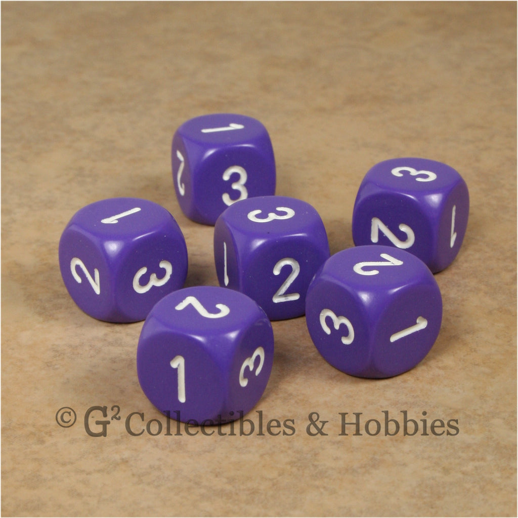 D3 (6 Sided) RPG Dice Set 6pc - Purple