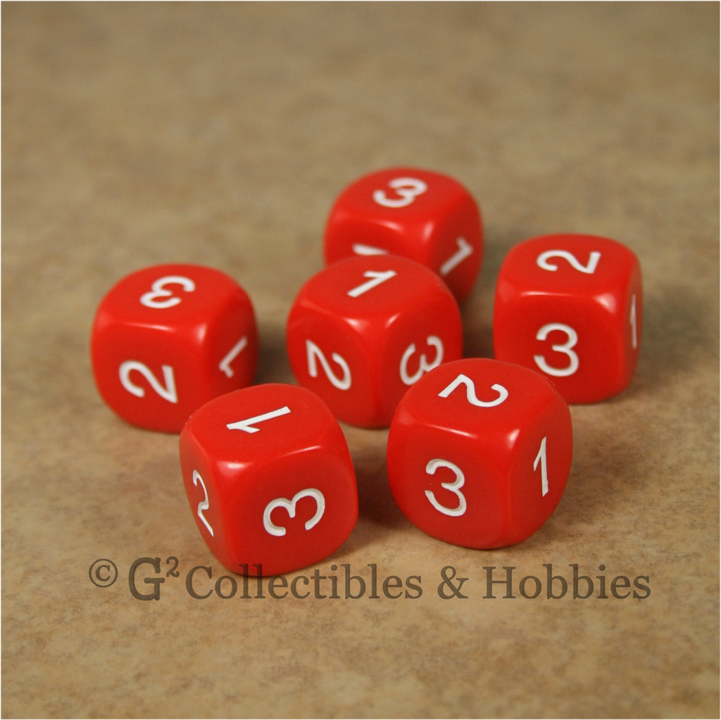 D3 (6 Sided) RPG Dice Set 6pc - Red