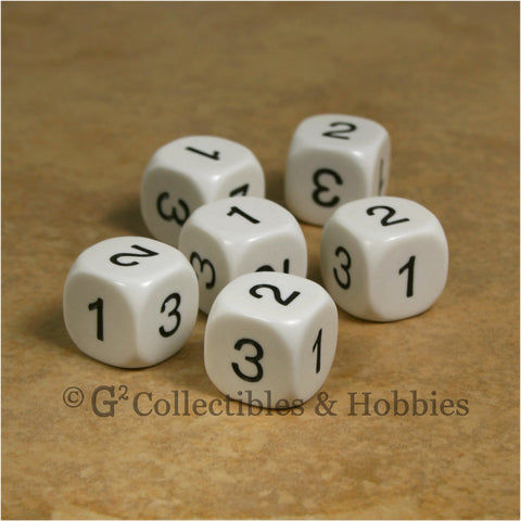 D3 (6 Sided) RPG Dice Set 6pc - White