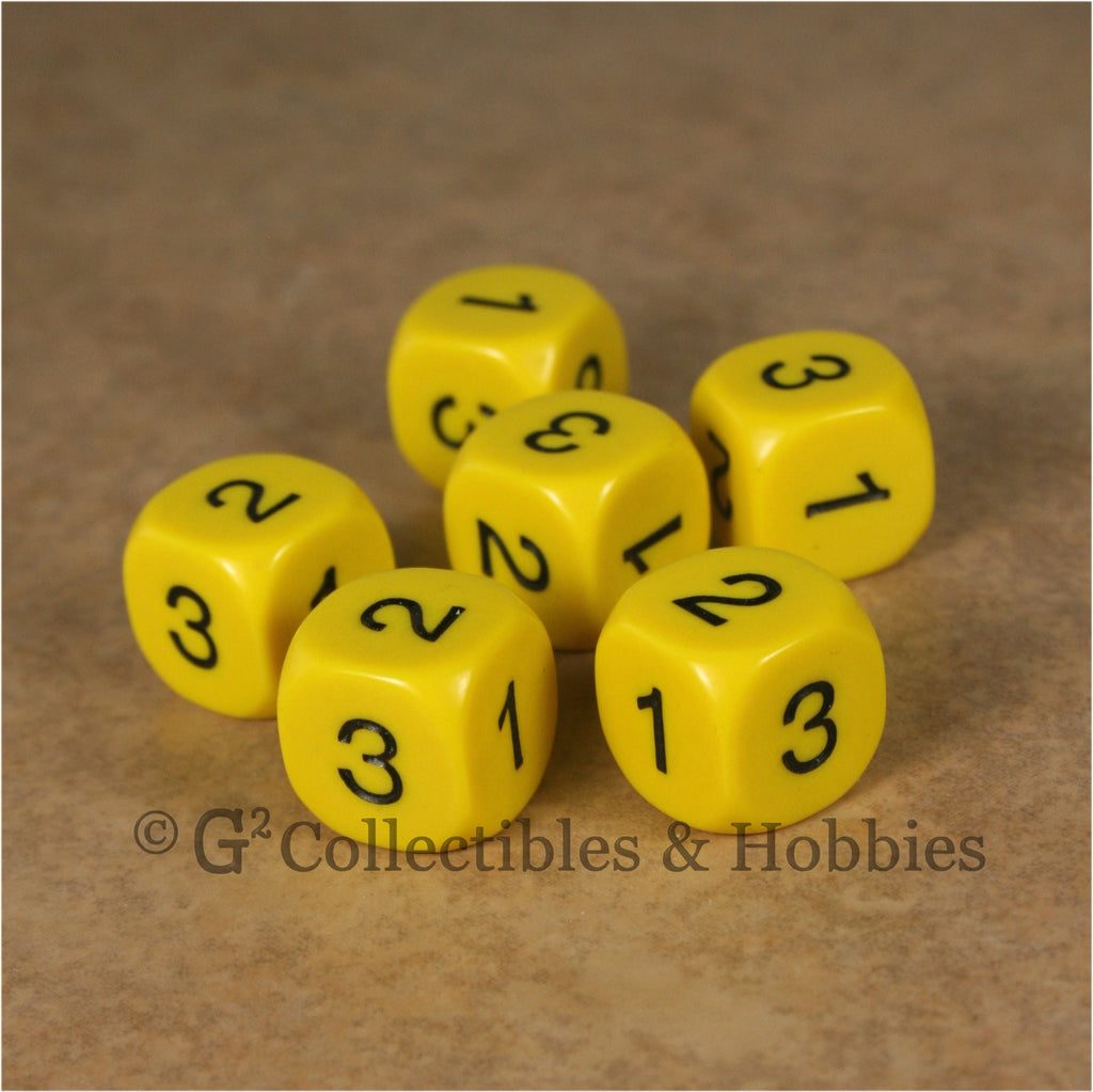 D3 (6 Sided) RPG Dice Set 6pc - Yellow