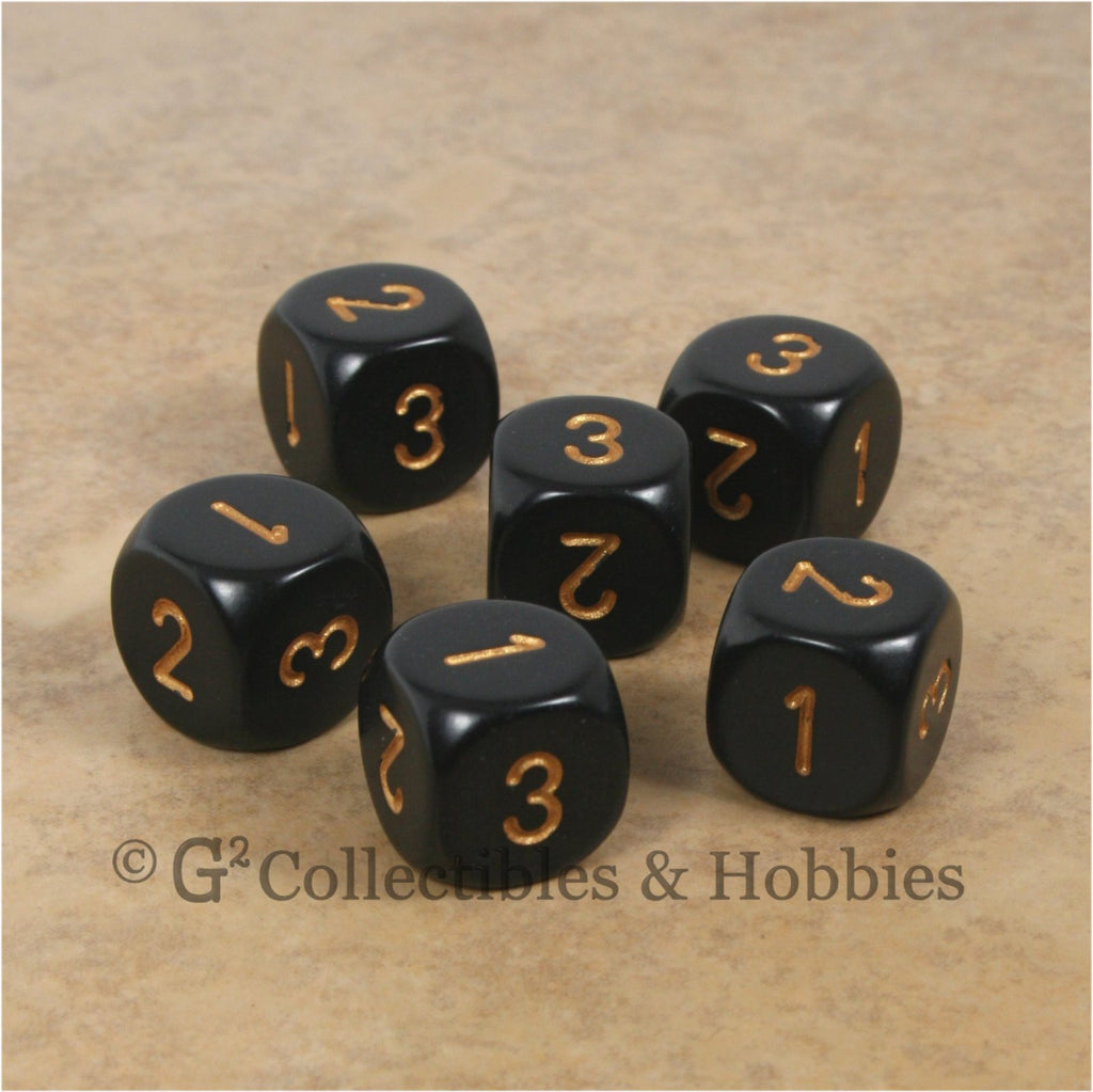 D3 (6 Sided) RPG Dice Set 6pc - Black with Gold Numbers