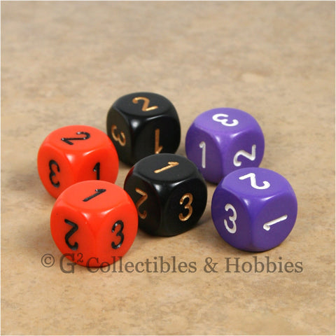 D3 (6 Sided) RPG Dice Set 6pc - Orange Purple Black