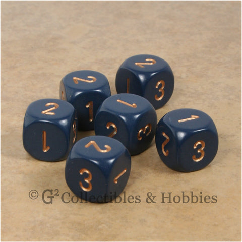 D3 (6 Sided) RPG Dice Set 6pc - Dusty Blue with Copper Numbers