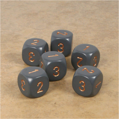 D3 (6 Sided) RPG Dice Set 6pc - Dark Gray with Copper Numbers