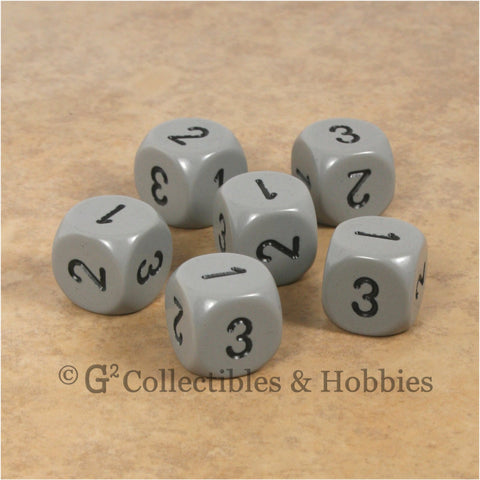 D3 (6 Sided) RPG Dice Set 6pc - Gray