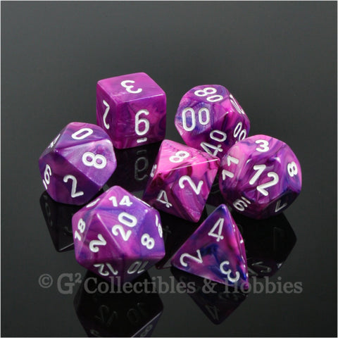 RPG Dice Set Festive Violet with White Numbers 7pc