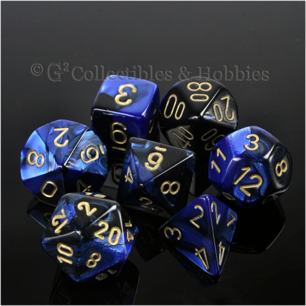 RPG Dice Set Gemini Black / Blue with Gold Numbers 7pc