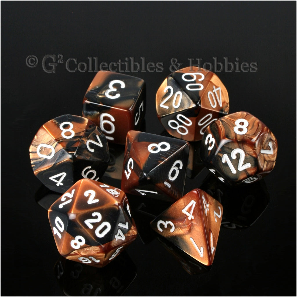 RPG Dice Set Gemini Black / Copper with White Numbers 7pc