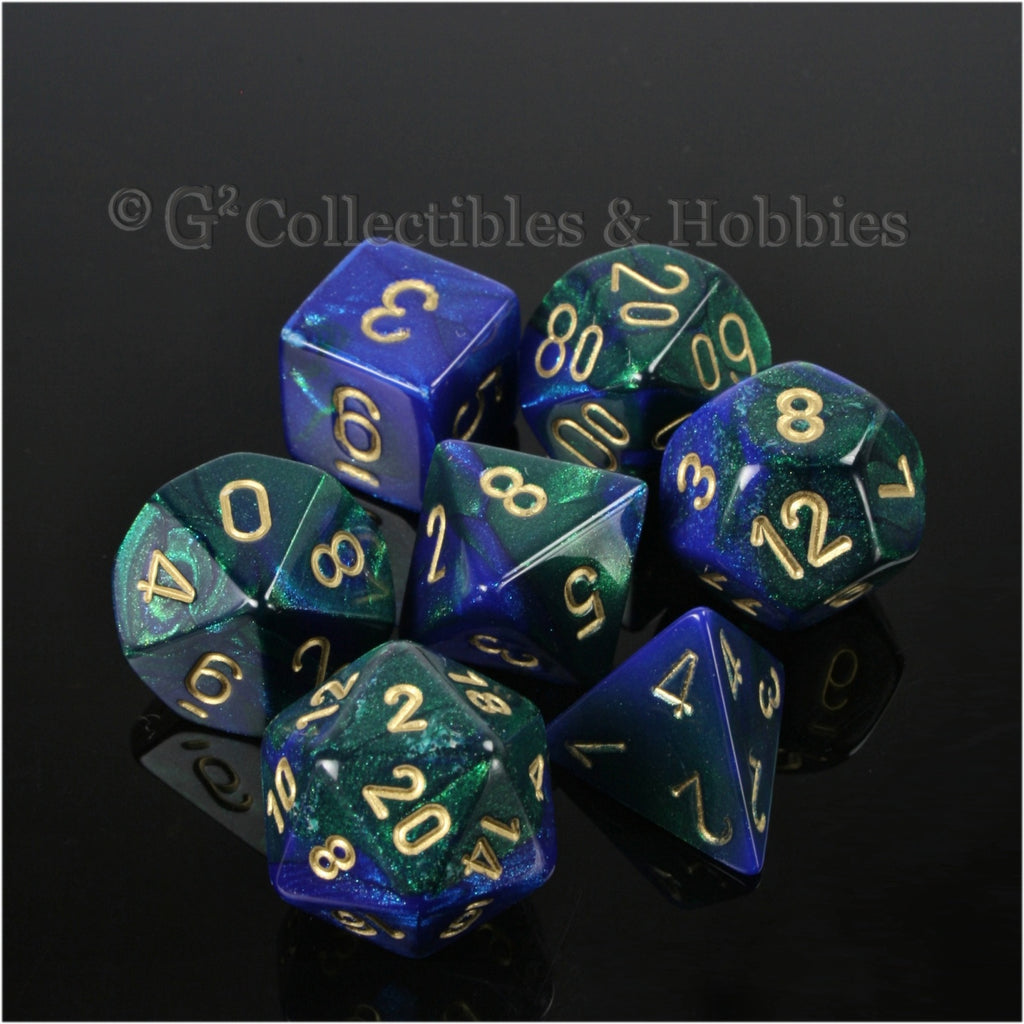RPG Dice Set Gemini Blue / Green with Gold Numbers 7pc
