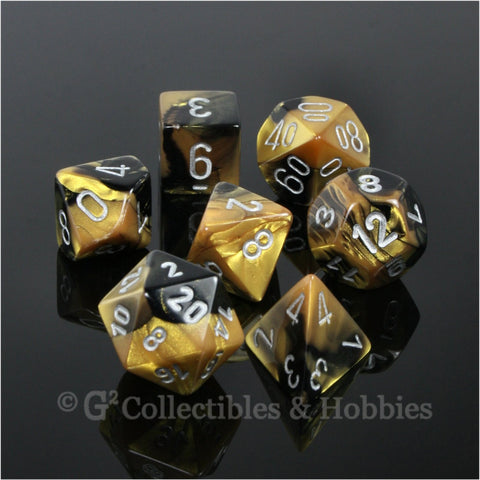 RPG Dice Set Gemini Black / Gold with Silver Numbers 7pc