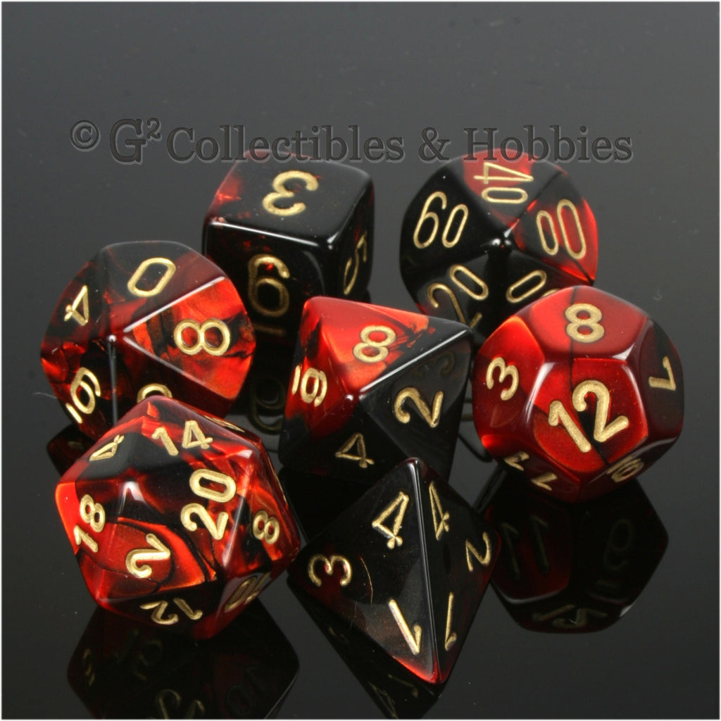 RPG Dice Set Gemini Black / Red with Gold Numbers 7pc