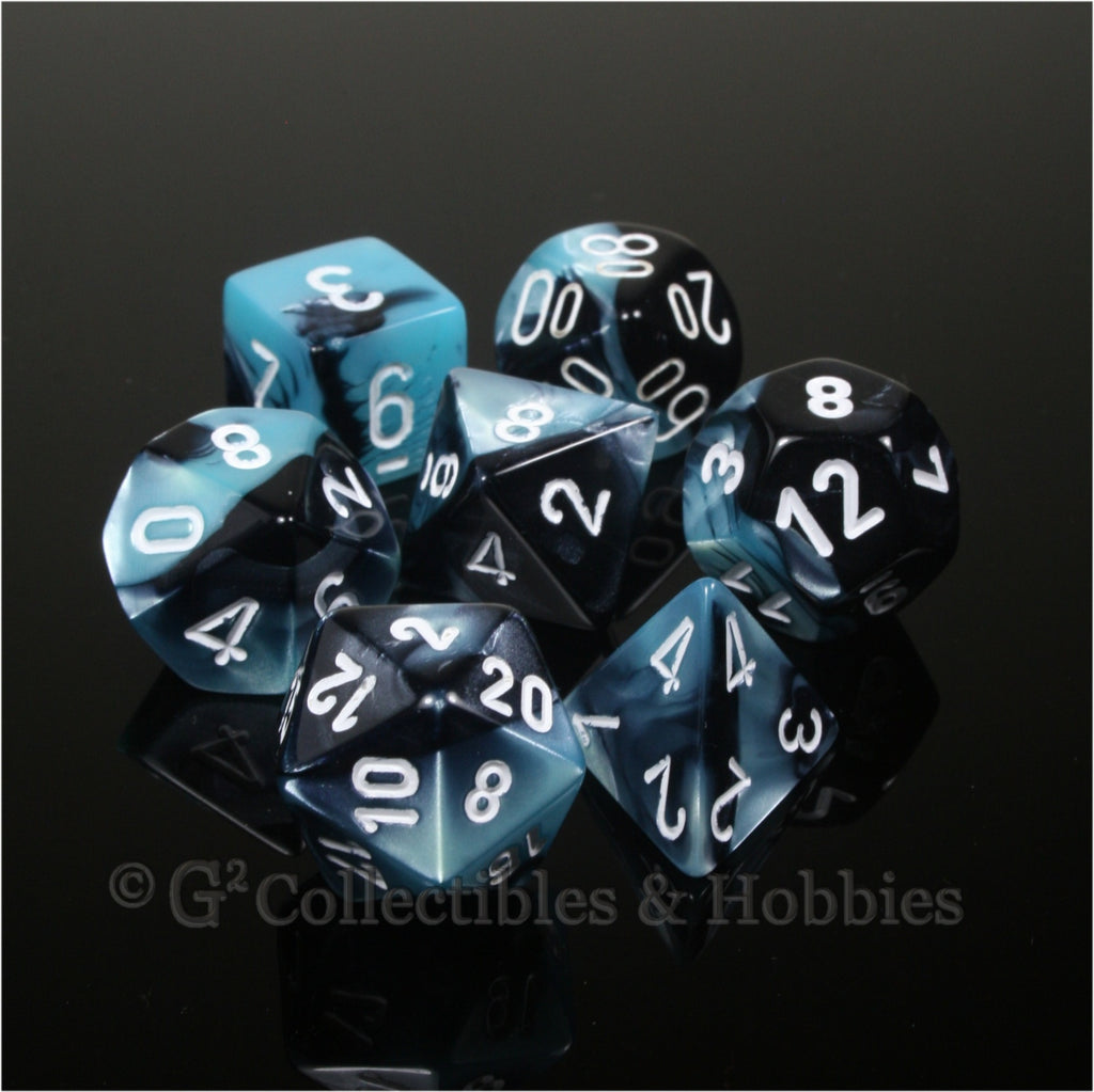 RPG Dice Set Gemini Black / Shell with White Numbers 7pc