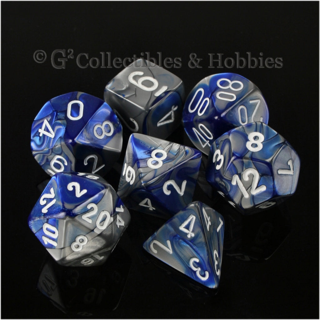 RPG Dice Set Gemini Blue / Steel Gray with White Numbers 7pc