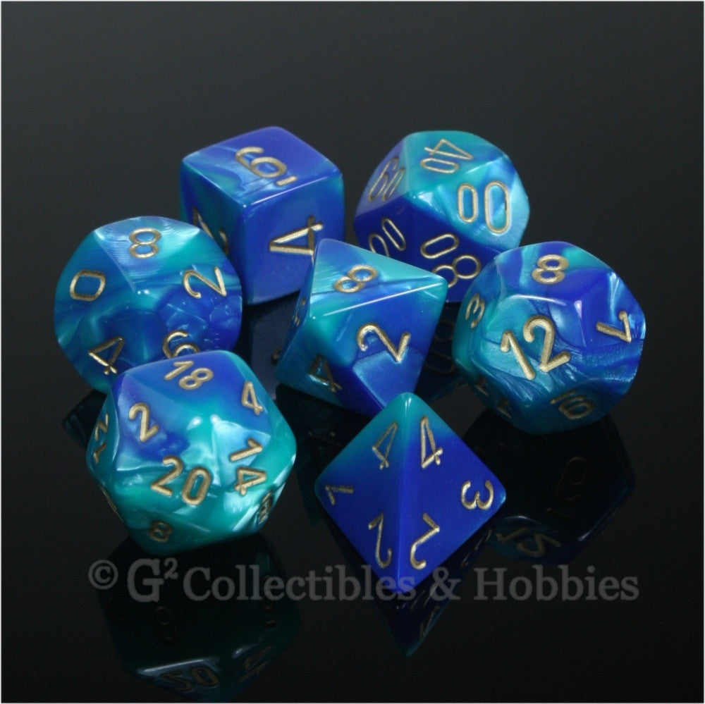 RPG Dice Set Gemini Blue / Teal with Gold Numbers 7pc