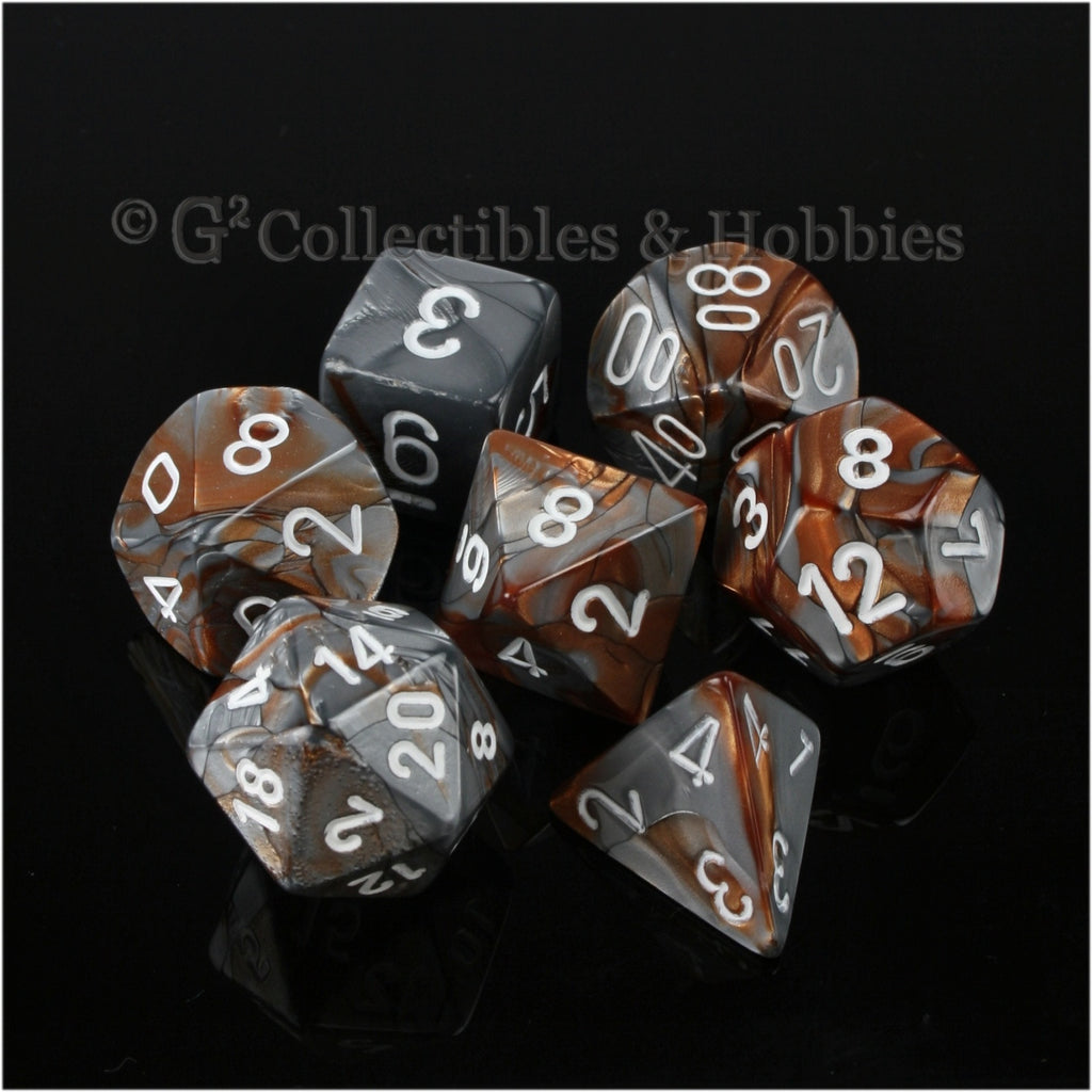 RPG Dice Set Gemini Copper / Steel Gray with White Numbers 7pc