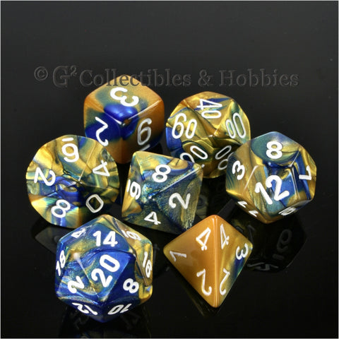 RPG Dice Set Gemini Blue / Gold with White Numbers 7pc