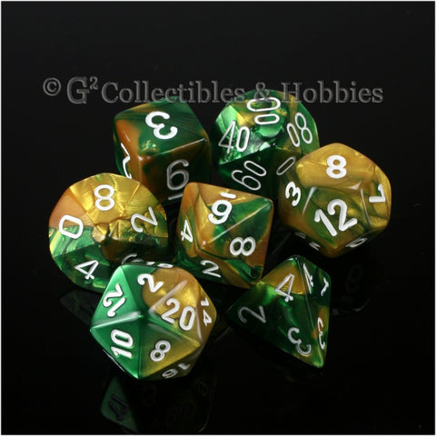 RPG Dice Set Gemini Gold / Green with White Numbers 7pc