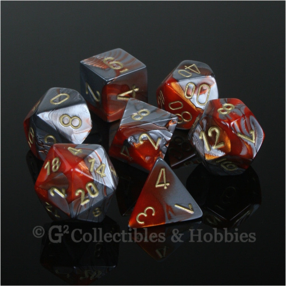 RPG Dice Set Gemini Orange / Steel Gray with Gold Numbers 7pc