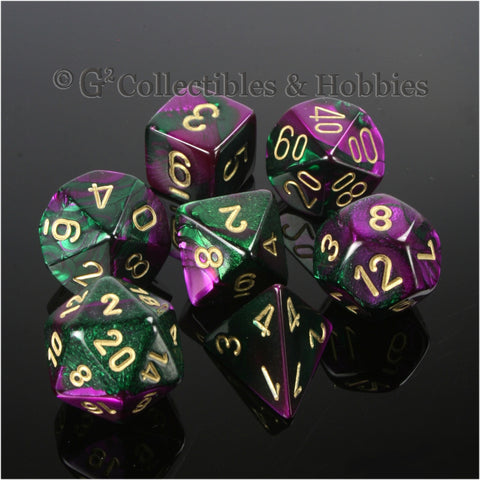 RPG Dice Set Gemini Purple / Green with Gold Numbers 7pc