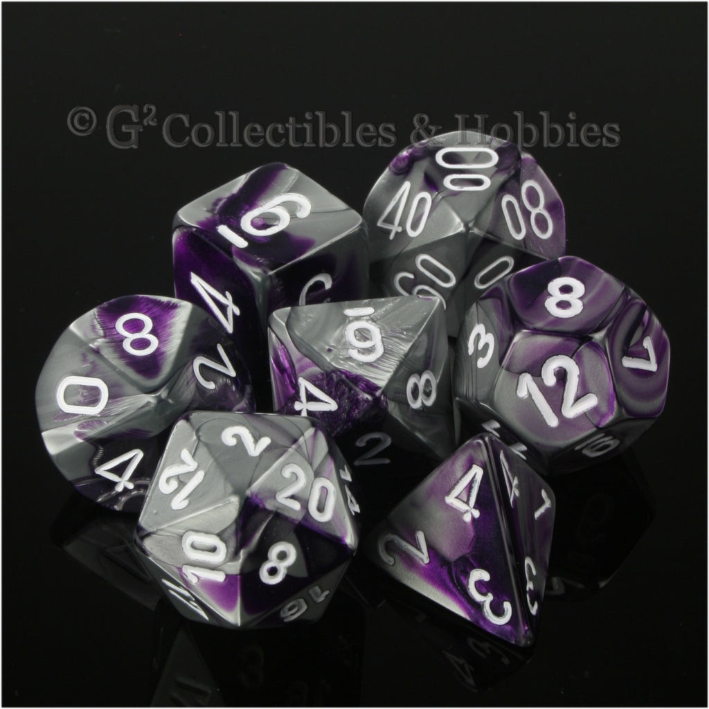 RPG Dice Set Gemini Purple / Steel Gray with White Numbers 7pc