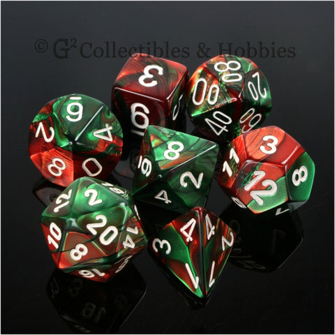 RPG Dice Set Gemini Green / Red with White Numbers 7pc