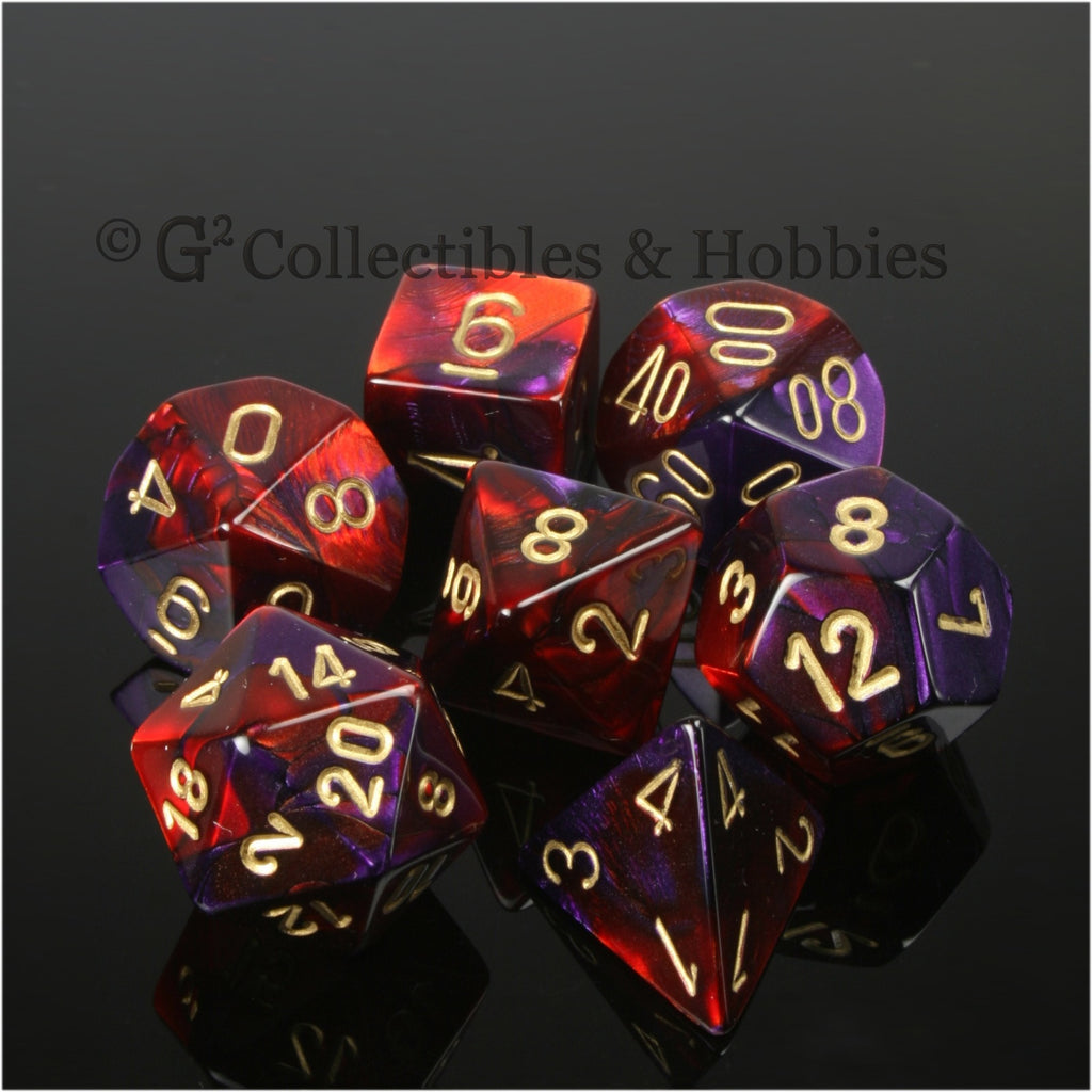 RPG Dice Set Gemini Purple / Red with Gold Numbers 7pc