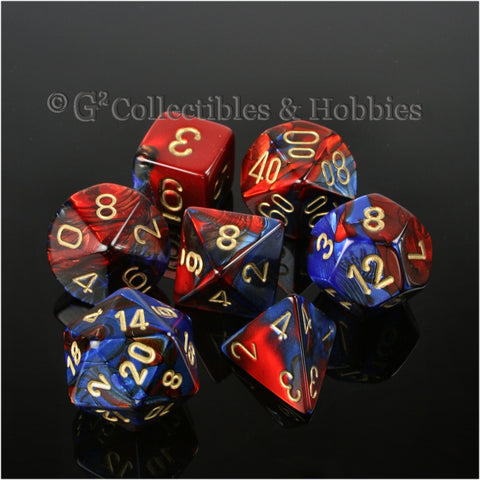 RPG Dice Set Gemini Blue / Red with Gold Numbers 7pc