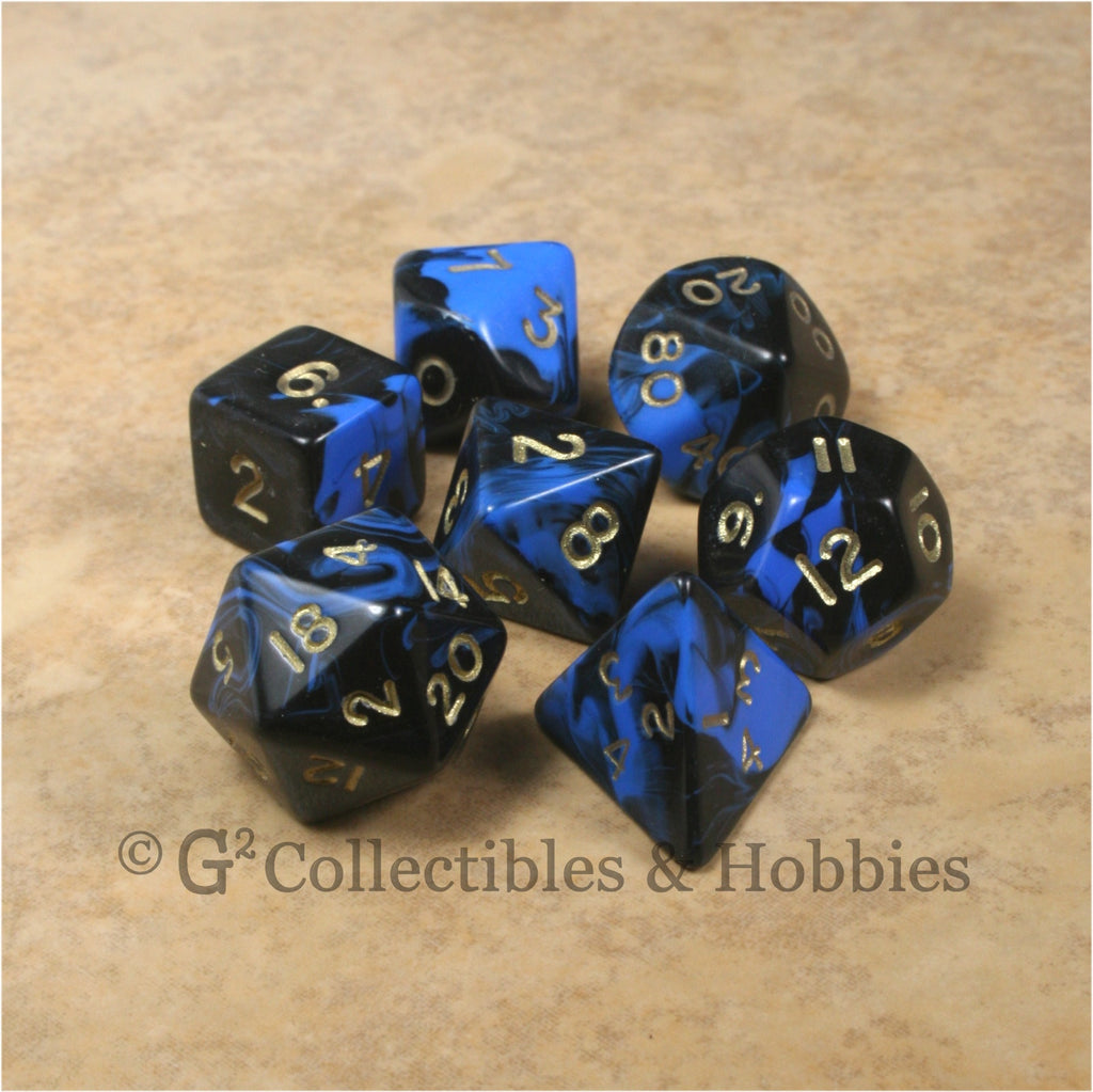 RPG Dice Set Oblivion Black Blue with Gold Numbers 7pc