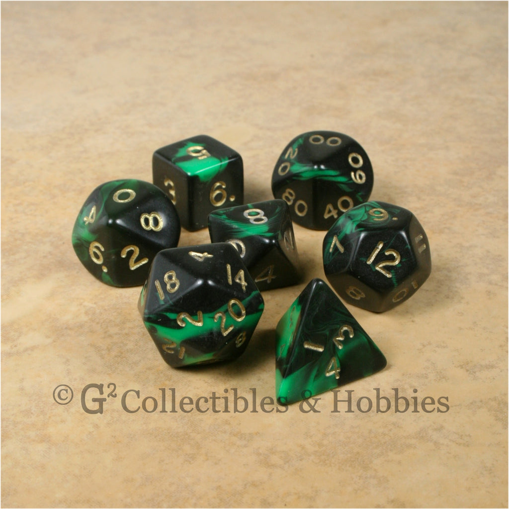 RPG Dice Set Oblivion Black Green with Gold Numbers 7pc