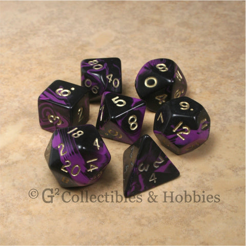 RPG Dice Set Oblivion Black Purple with Gold Numbers 7pc