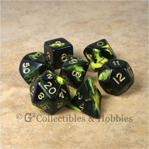 RPG Dice Set Oblivion Black Yellow with Gold Numbers 7pc