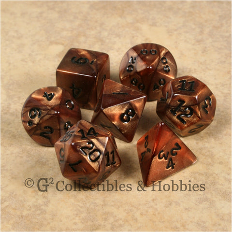 RPG Dice Set Olympic Bronze with Black Numbers 7pc