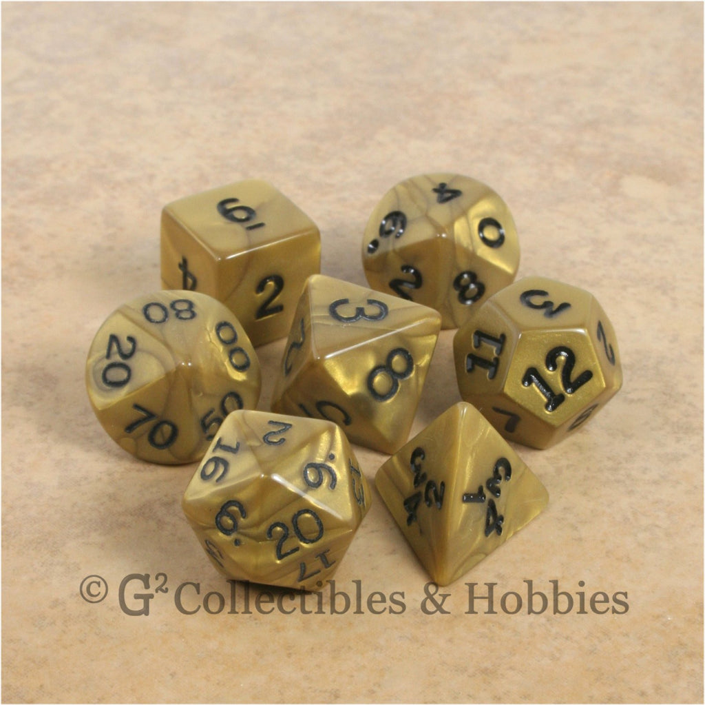 RPG Dice Set Olympic Gold with Black Numbers 7pc
