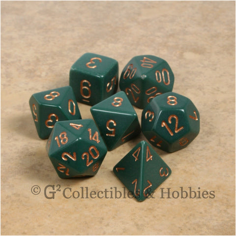 RPG Dice Set Opaque Dusty Green with Gold Numbers 7pc