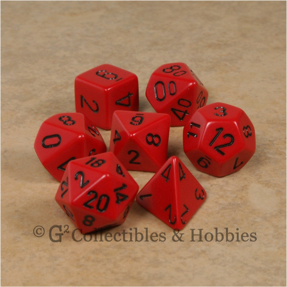 RPG Dice Set Opaque Red with Black Numbers 7pc