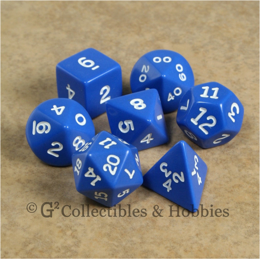 RPG Dice Set Opaque Blue with White Numbers 7pc