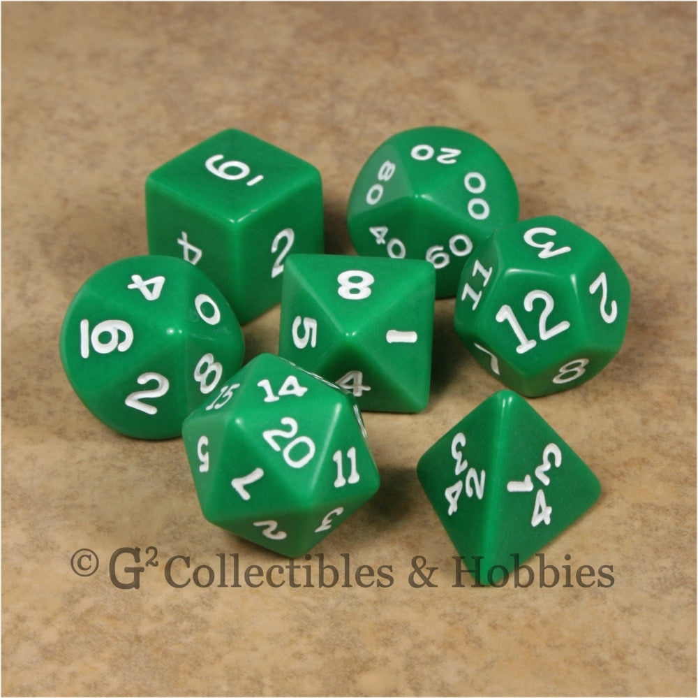 RPG Dice Set Opaque Green with White Numbers 7pc