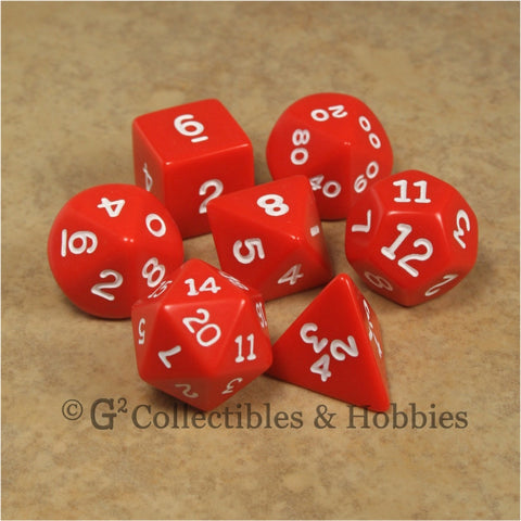 RPG Dice Set Opaque Red with White Numbers 7pc