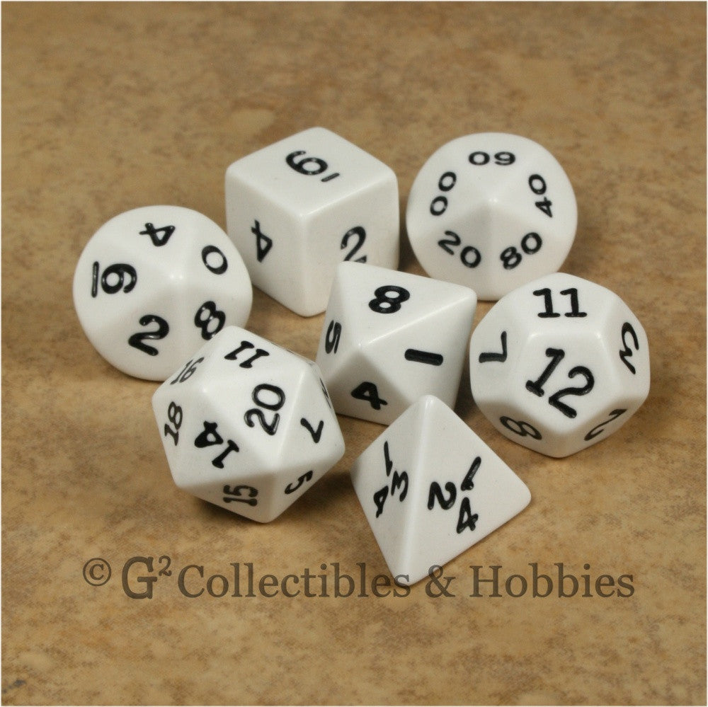 RPG Dice Set Opaque White with Black Numbers 7pc