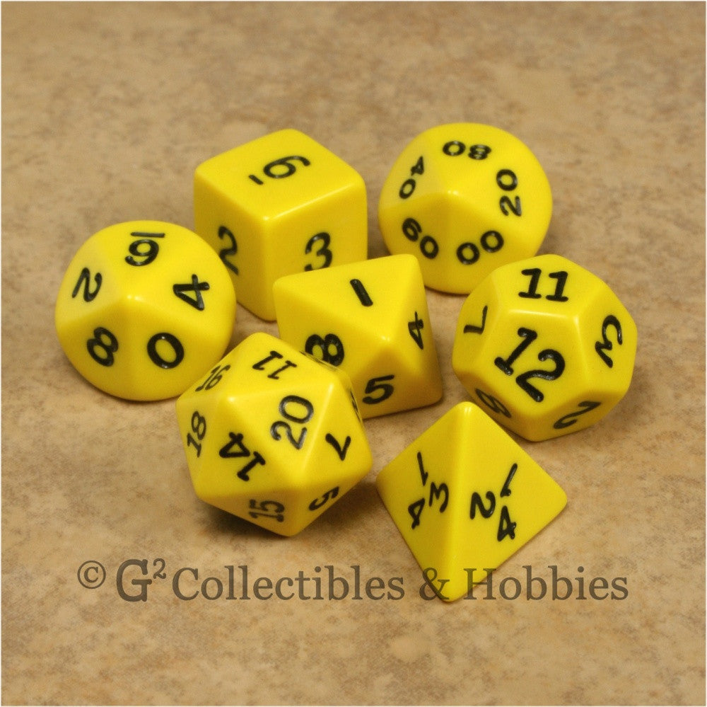 RPG Dice Set Opaque Yellow with Black Numbers 7pc