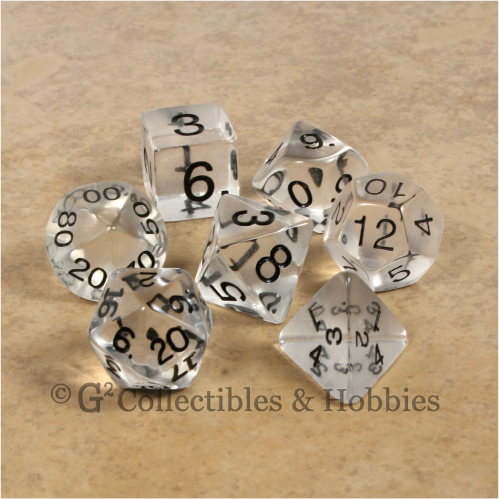 RPG Dice Set Transparent Clear with Black Numbers 7pc
