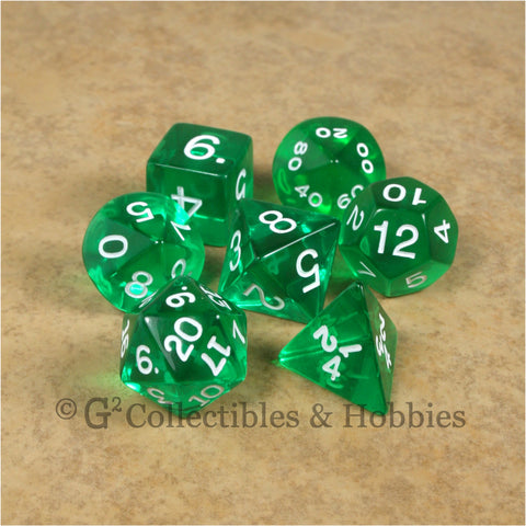 RPG Dice Set Transparent Green with White Numbers 7pc