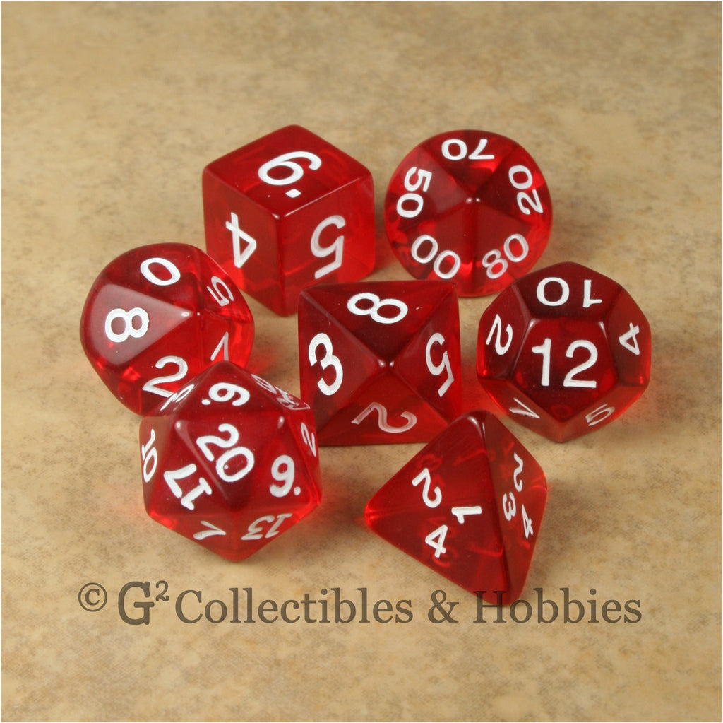 RPG Dice Set Transparent Red with White Numbers 7pc