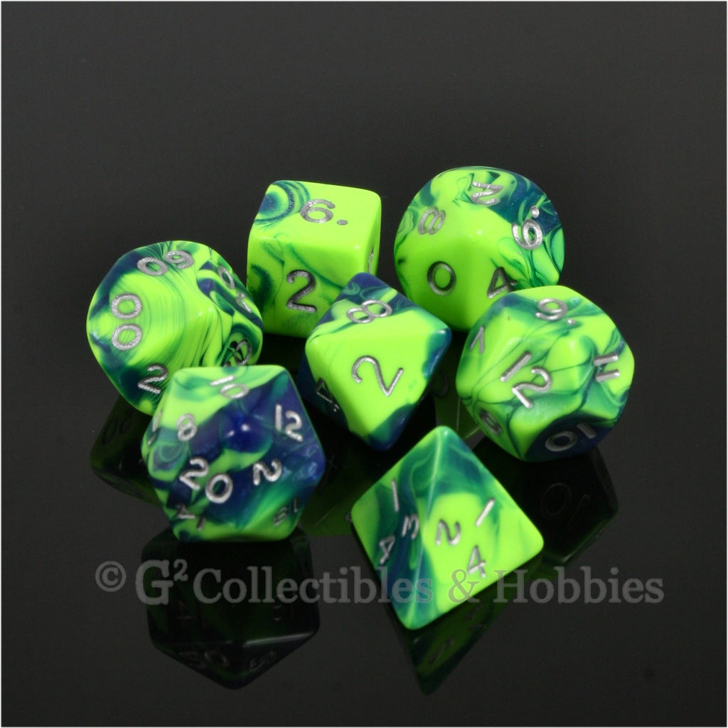 RPG Dice Set Toxic Green Blue with Silver Numbers 7pc
