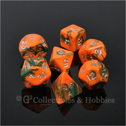 RPG Dice Set Toxic Orange Green with Silver Numbers 7pc