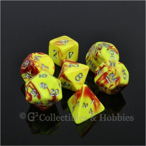 RPG Dice Set Toxic Yellow Red with Silver Numbers 7pc