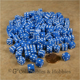 D6 8mm Opaque Blue with White Pips 200pc Bulk Set