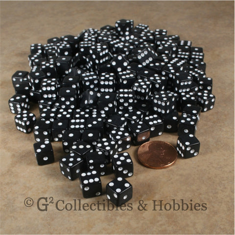 D6 8mm Opaque Black with White Pips 200pc Bulk Set